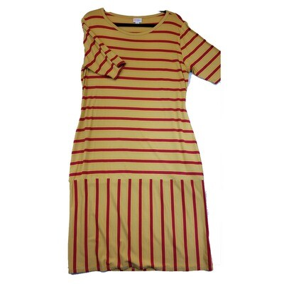 JULIA XX-Large 2XL Yellow with Red Stripes Form Fitting Dress fits sizes 20-22