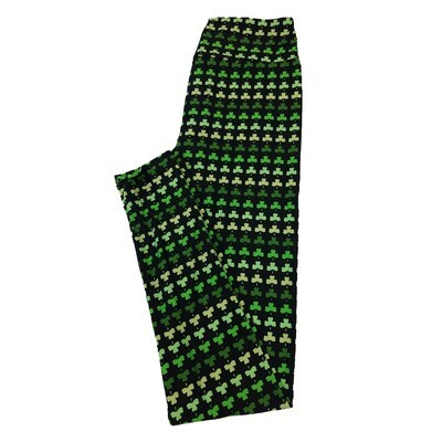 LuLaRoe One Size OS Four Leaf Clover Shamrock Black Green Polka Dot Stripe Leggings fit Sizes 2-10