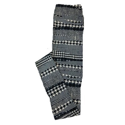 LuLaRoe One Size OS Herringbone Zig Zag Black White Polka Dot Stripe Leggings fit Sizes 2-10