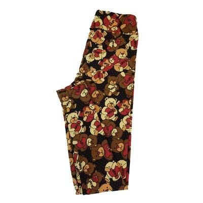 LuLaRoe One Size OS Valentine Teddy Bear Love Heart Polka Dot Black Grown Green Leggings fit Sizes 2-10