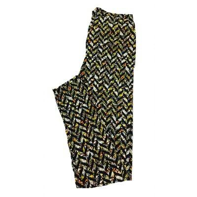 LuLaRoe One Size OS Zig Zag Stripe Floral Black Yellow Leggings fit Sizes 2-10