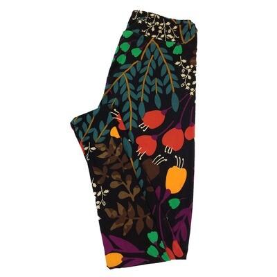 LuLaRoe One Size OS Floral Black Green Cream Leggings fit Sizes 2-10