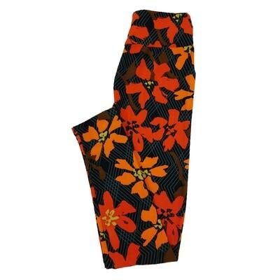 LuLaRoe One Size OS Floral Stripe Geometric Leggings fit Sizes 2-10