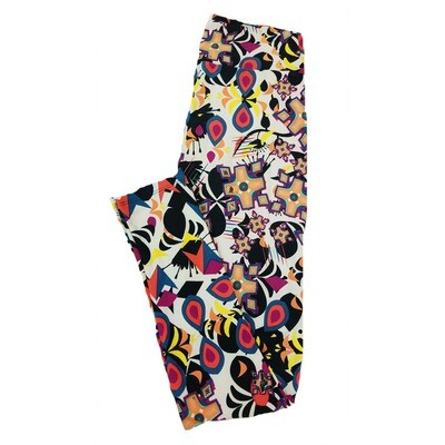 LuLaRoe One Size OS Trippy Geometric Floral Arrows Diamonds Black White Yellow Leggings fit Sizes 2-10