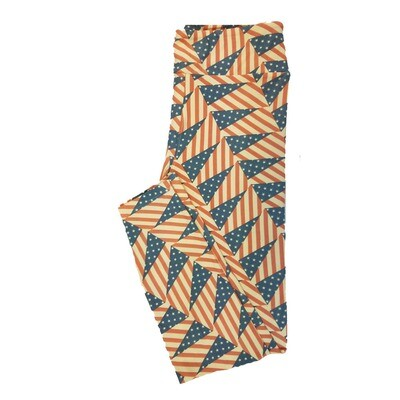 LuLaRoe One Size OS Americana USA Triangle Flag Stars Stripes Red White Blue Leggings fit Sizes 2-10