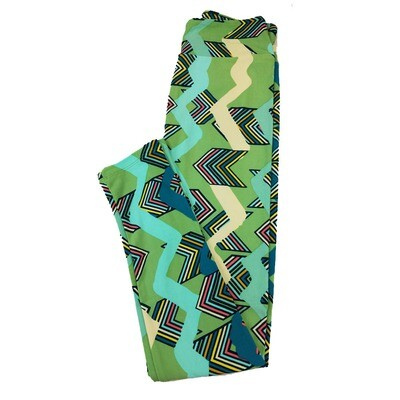 LuLaRoe One Size OS Chevron Geometric Stripe Leggings fit Sizes 2-10