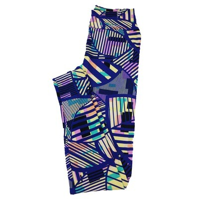 LuLaRoe One Size OS Trippy Geometric Circles Stripes Blue Green Purple White Leggings fit Sizes 2-10