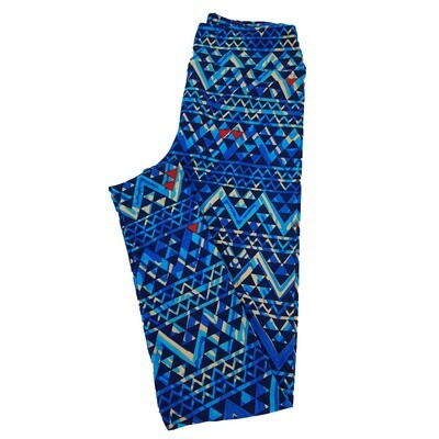 LuLaRoe One Size OS Trippy Geometric Black Blue Leggings fit Sizes 2-10