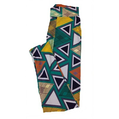 LuLaRoe One Size OS Trippy Hypnotic Geometric Triangles Teal Green Purple White Leggings fit Sizes 2-10