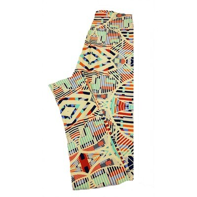 LuLaRoe One Size OS Trippy Geometric Stripe Leggings fit Sizes 2-10