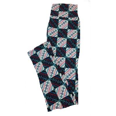 LuLaRoe One Size OS Patchwork Checkerboard Geometric Stripe Black White Leggings fit Sizes 2-10