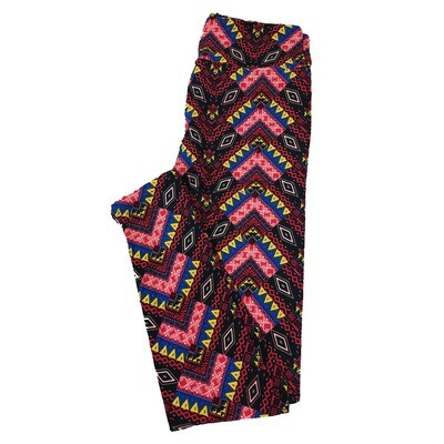 LuLaRoe One Size OS Diamond Geometric Teepee Black Yellow Purple Leggings fit Sizes 2-10