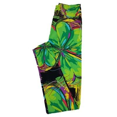 LuLaRoe One Size OS Four Leaf Clover Shamrock Black Green Leggings fit Sizes 2-10