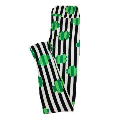 LuLaRoe One Size OS Four Leaf Clover Shamrock Black White Green Stripe Leggings fit Sizes 2-10