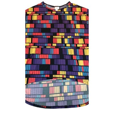 LuLaRoe IRMA X-Small XS Black and Rainbow Geometric Stripe Womens Tunic fits 2-6