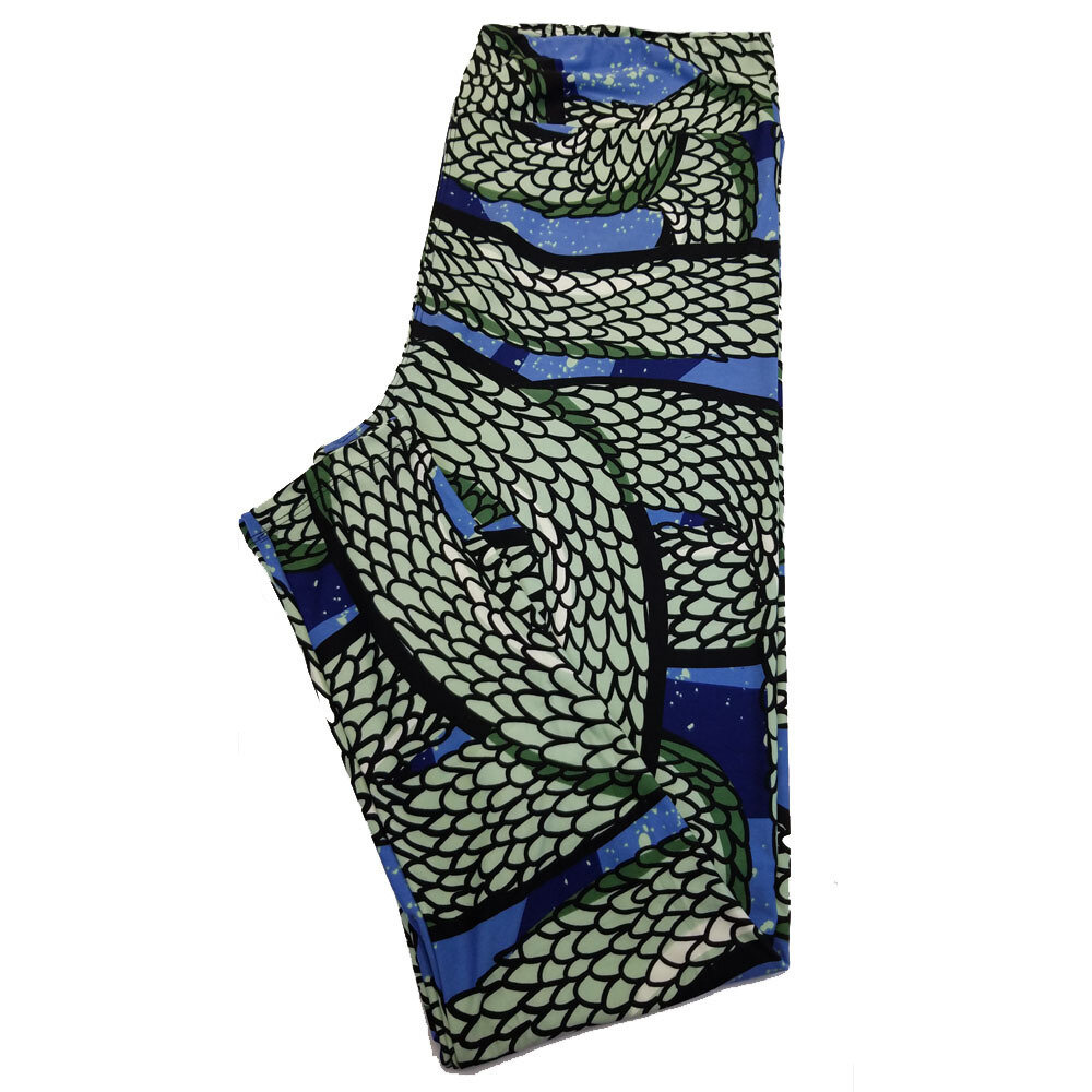 LuLaRoe TC2 Serpent Snake Skin Black Mint Geometric Leggings fits Adult Sizes 18+