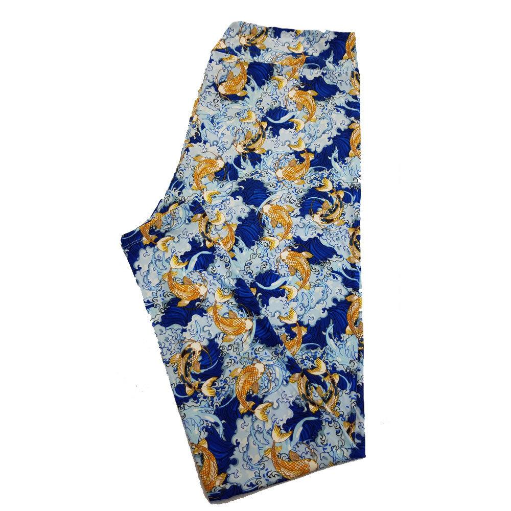LuLaRoe TC2 Blue White Orange Japanese Koi Fish Water Waves Animal Print Leggings fits Adult Sizes 18+