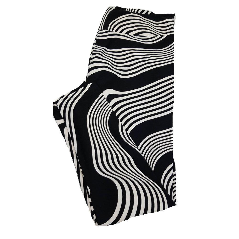 LuLaRoe TC2 Black and White Stripe Animal Print Leggings fits Adult Sizes 18+