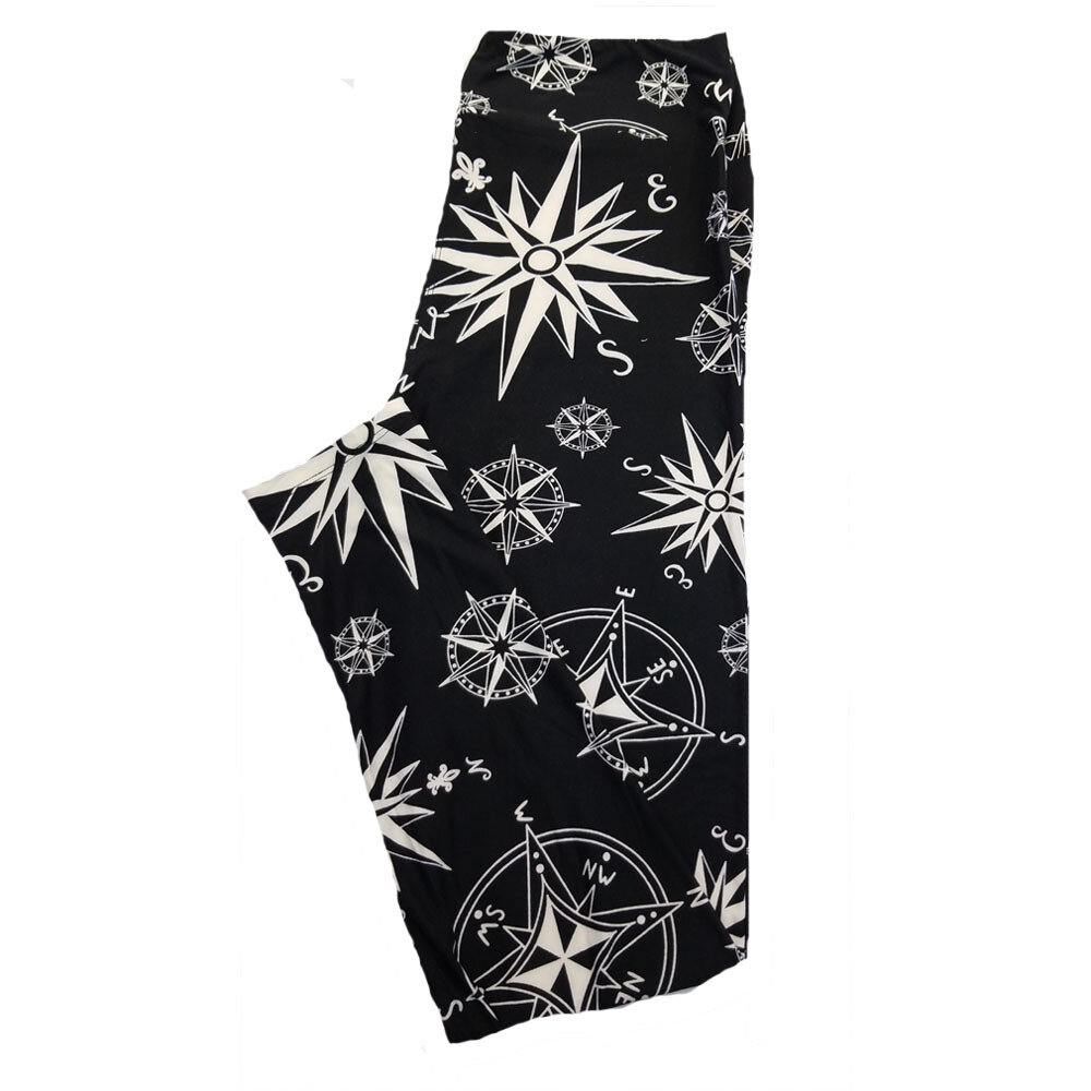 LuLaRoe TC2 Black and White Nautical Compass Directions Weather Print Leggings fits Adult Sizes 18+