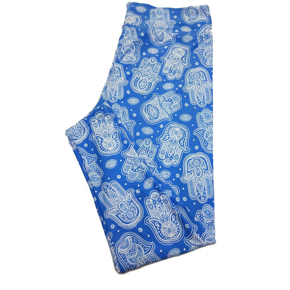 LuLaRoe TC2 Blue White Eyes Paisley Fleur de Li Print Leggings fits Adult Sizes 18+
