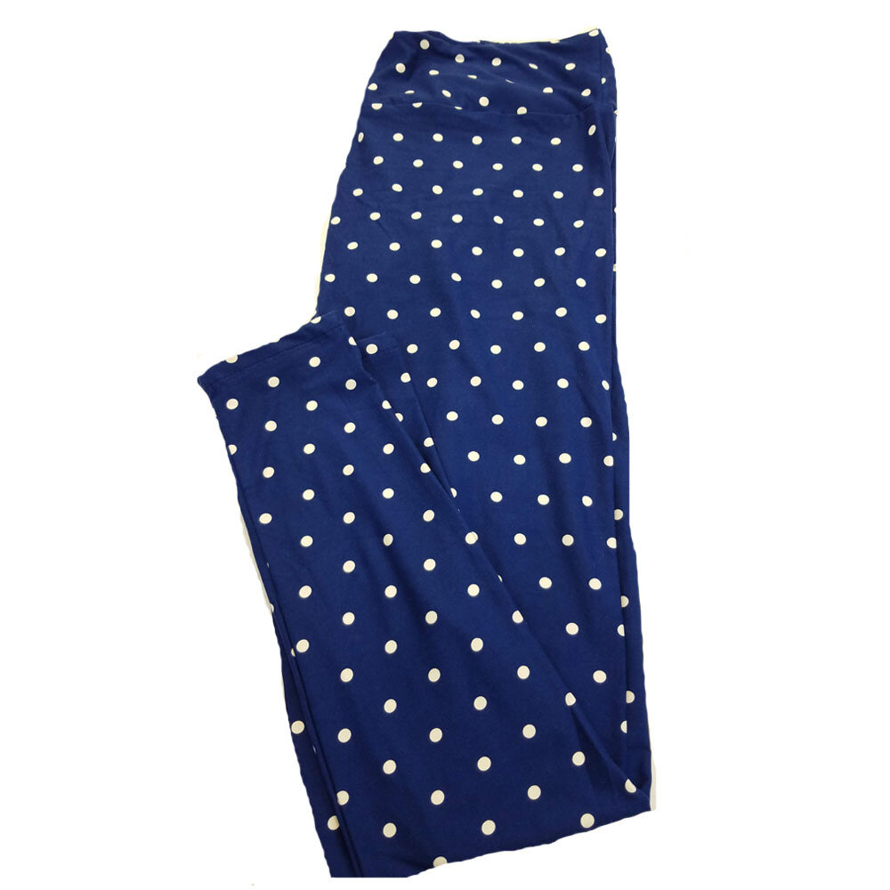 LuLaRoe TC2 Blue and White Polka Dot Geometric Leggings fits Adult Sizes 18+