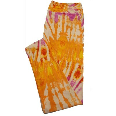 LuLaRoe TC2 Orange Green Blue Cream Tye Dye Trippy Geometric Leggings fits Adult Sizes 18+