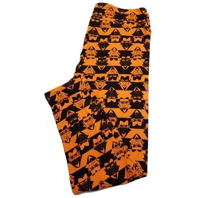 LuLaRoe TC2 Halloween Dracula Nosfaratu Stripe Black Orange Leggings fits Adult Sizes 18+