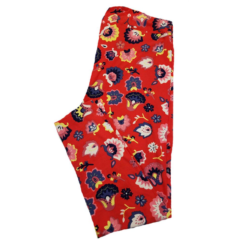 LuLaRoe TC2 Red Black Mint Purple Floral Leggings fits Adult Sizes 18+