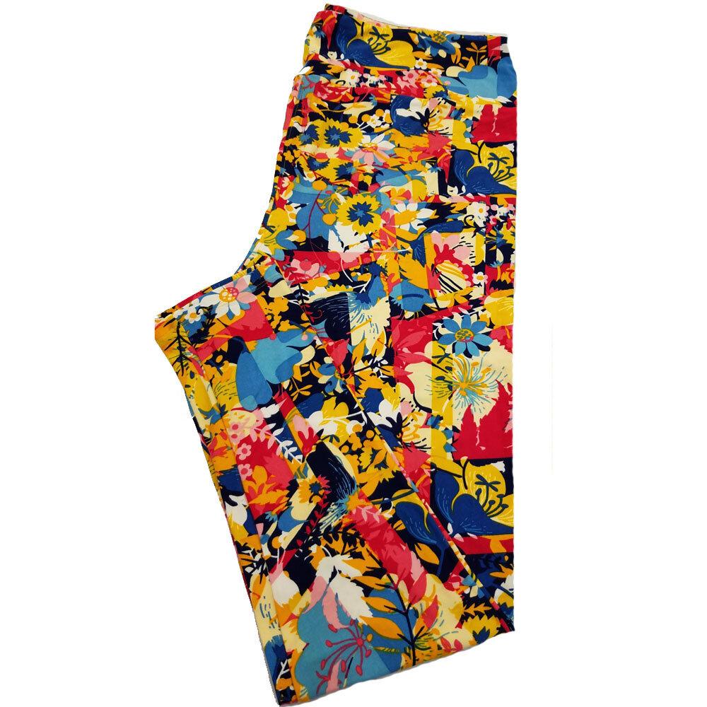 LuLaRoe TC2 Multicolor Floral Patchwork Leggings fits Adult Sizes 18+