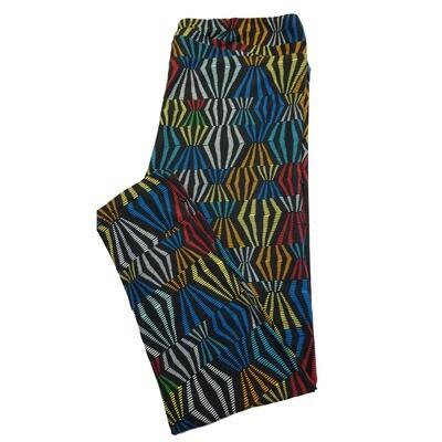 LuLaRoe TC2 Black Blue Purple Green Stripe Geometric Leggings fits Adult Sizes 18+