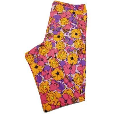 LuLaRoe TC2 Floral Pink Fucshia Black Teal Leggings fits Adult Sizes 18+