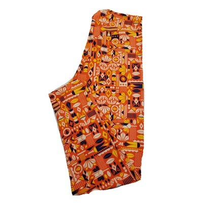 LuLaRoe TC2 Orange Navy Green Geometric Leggings fits Adult Sizes 18+