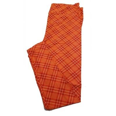 LuLaRoe TC2 Orange White Plaid Square Geometric Leggings fits Adult Sizes 18+