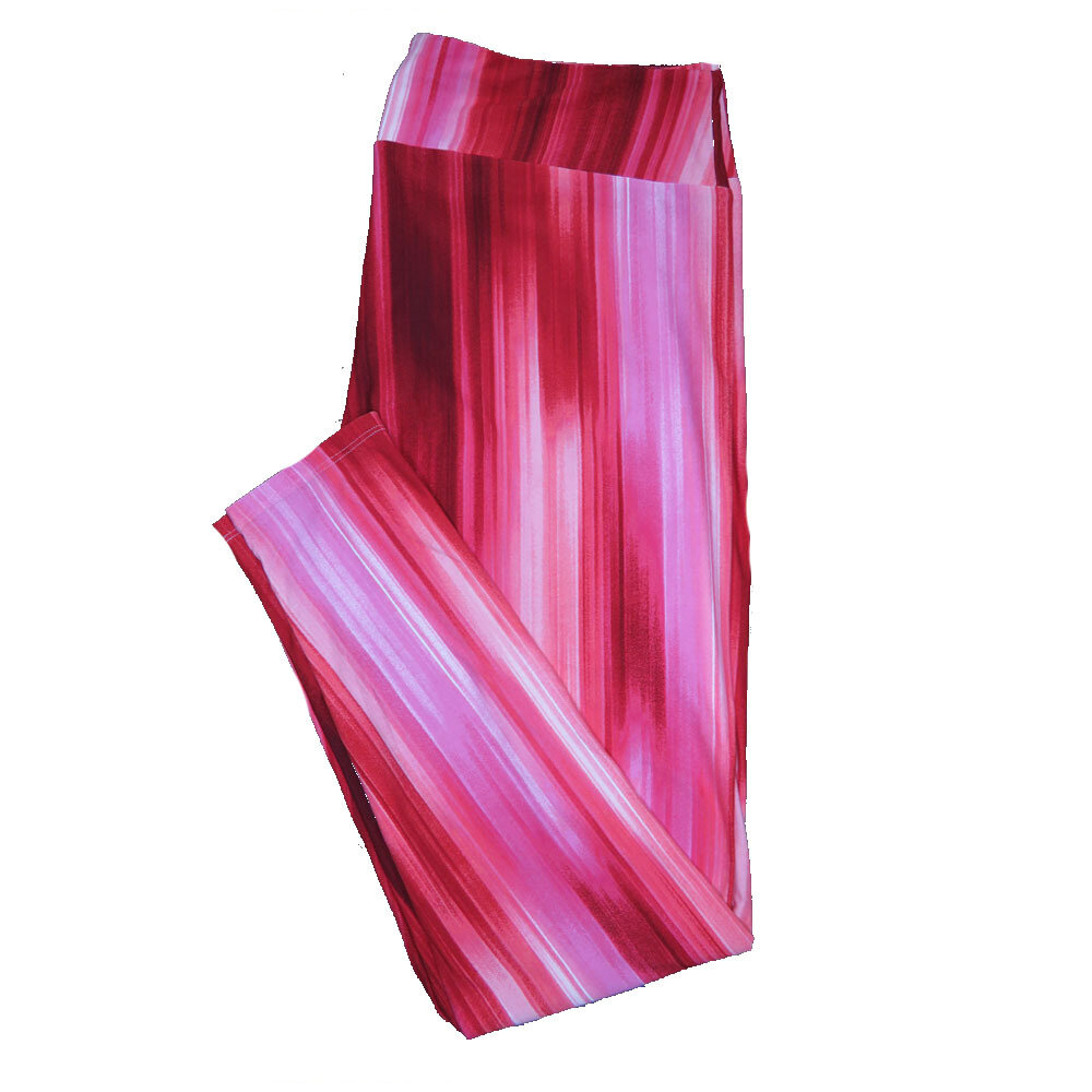 LuLaRoe TC2 ( fits Adult Sizes 18+ ) Valentines Pink Red Waterfall Stripes Leggings
