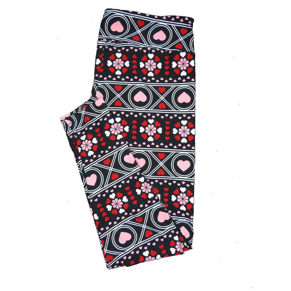 LuLaRoe TC2 ( fits Adult Sizes 18+ ) Valentines Black Gray Pink Red Polka Dot Stripe Gaelic Hearts Leggings