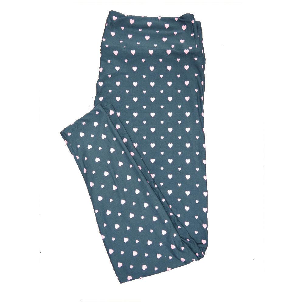 LuLaRoe TC2 ( fits Adult Sizes 18+ ) Valentines Green White Polka Dot Hearts Leggings