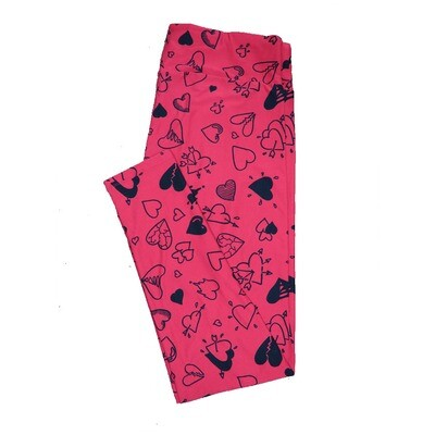 LuLaRoe Tall Curvy ( TC ) Valentines Red Black Broken Fractured Excited Arrows Hearts Leggings fits Adult sizes 12-18