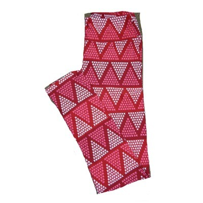 LuLaRoe One Size ( OS ) Valentines Red White Pink Geometric Triangle X's O's Hearts Leggings fits Adult sizes 2-10