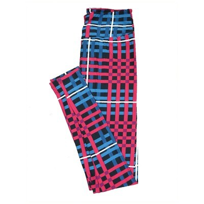 LuLaRoe One Size ( OS ) Valentines Criss Cross Stripe Black Blue Fuschia Hearts Leggings fits Adult sizes 2-10