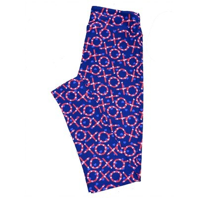 LuLaRoe One Size ( OS ) Valentines Blue Red White X's O's Hugs Kisses Polka Dot Hearts Leggings fits Adult sizes 2-10