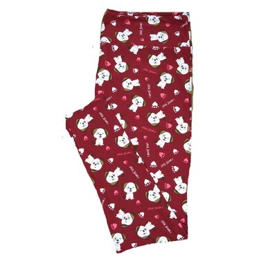LuLaRoe One Size ( OS ) Valentines Woof You Puppy Dog Paw Print Red Green White Hearts Leggings fits Adult sizes 2-10