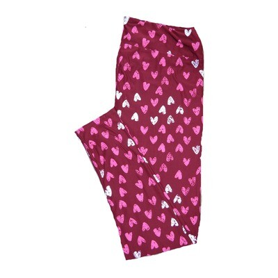 LuLaRoe Tall Curvy ( TC ) Valentines Deep Red Pink White Polka Dot Hearts Leggings fits Adult sizes 12-18