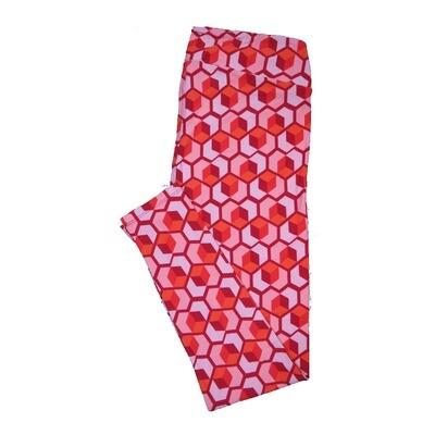 LuLaRoe Tall Curvy ( TC ) Valentines Large Red Pink Geometric Cube Hearts Leggings fits Adult sizes 12-18
