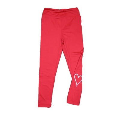LuLaRoe Kids Small-Medium ( SM ) Valentines Solid Red with One White Heart Leggings fits sizes 2-8
