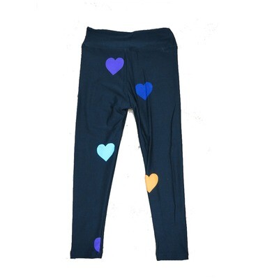 LuLaRoe Kids Small-Medium ( SM ) Valentines Solid Black with Blue White Green Red Hearts Leggings fits sizes 2-8
