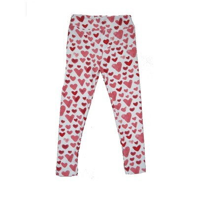 LuLaRoe Kids Small-Medium ( SM ) Valentines White Red Pink Hearts Leggings fits sizes 2-8