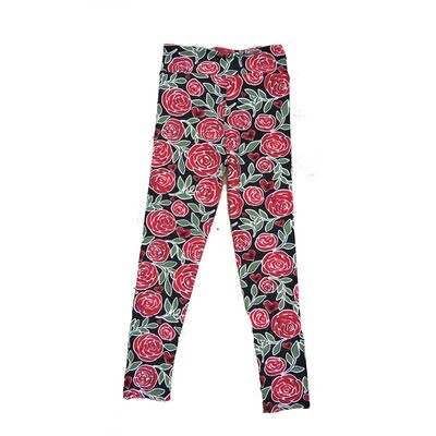 LuLaRoe Kids Small-Medium ( SM ) Valentines Red Roses Leggings fits sizes 2-8