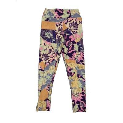 LuLaRoe Kids Small-Medium Floral Geometric Polka Dot Leggings ( S/M fits kids 2-8 ) SM-1002-W