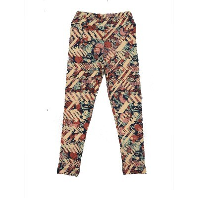LuLaRoe Kids Small-Medium Floral Geometric Zig Zag Leggings ( S/M fits kids 2-8 ) SM-1001-D