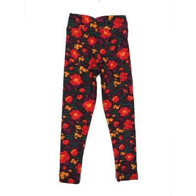 LuLaRoe Kids Small-Medium Floral Stripe Leggings ( S/M fits kids 2-8 ) SM-1006-B